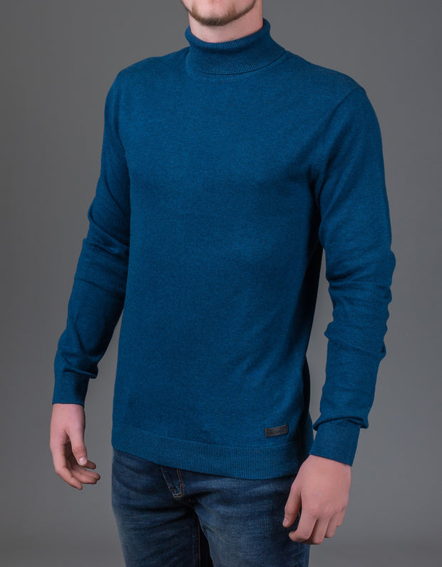 COLE ROLL-NECK DARK BLUE MEL.