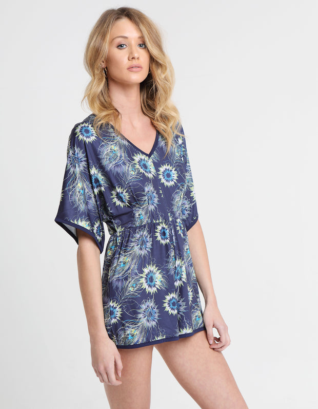 MINA PLAYSUIT FEATHER PRINT