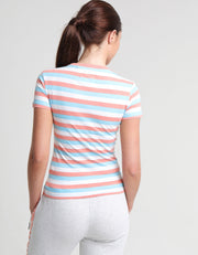 ANNELI TEE BURNT CORAL STRIPE