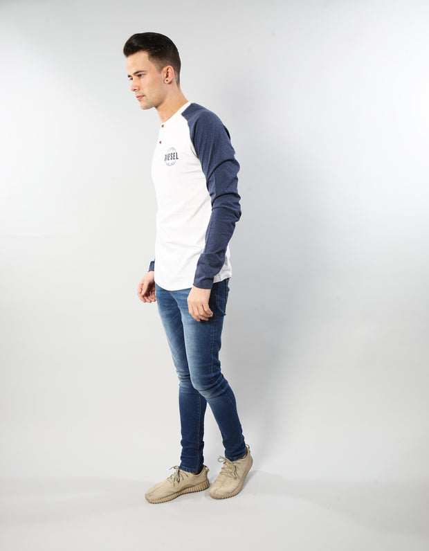 KENNEDY L/S HENLEY OPTIC WHITE
