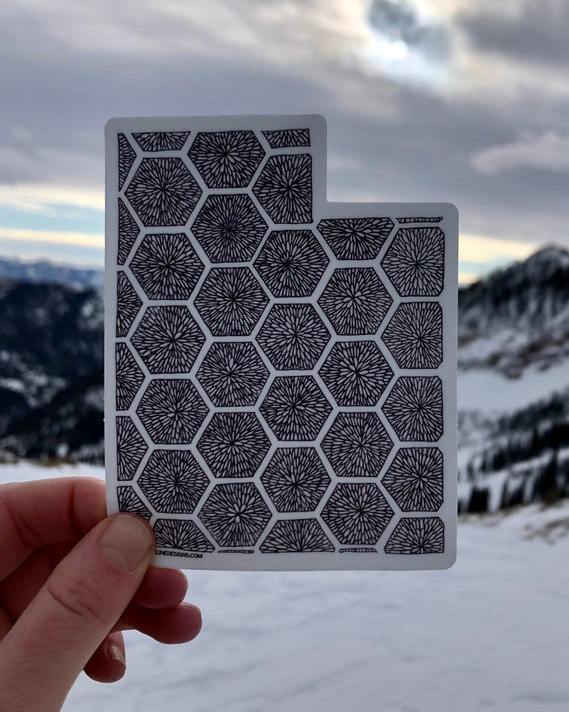 Utah Beehive Sticker White