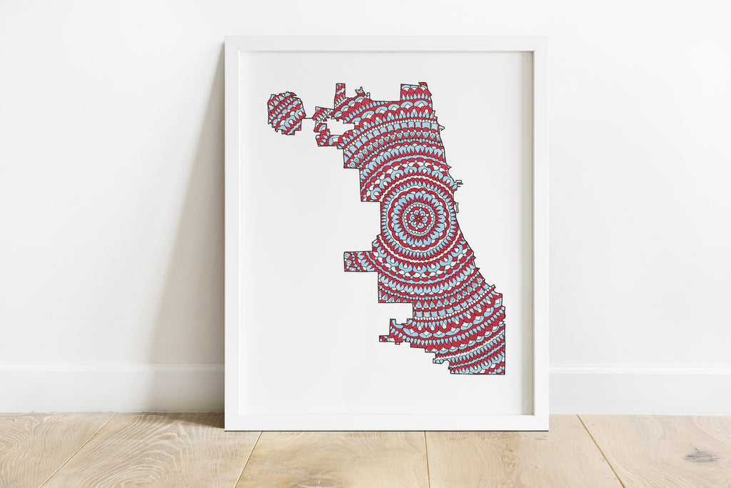 Chicago Flag Windy City Mandala