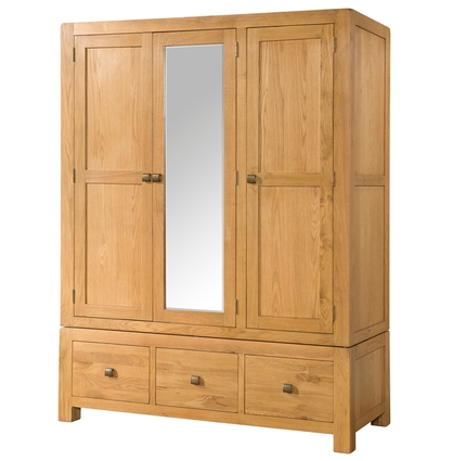 Avondale Triple Wardrobe with 3 Drawers and Mirror