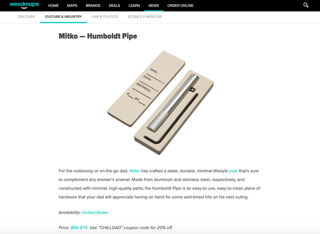 weedmaps mitko humboldt pipe fathers day gift guide