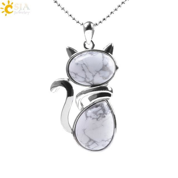Collier Chat - Howlite - collier