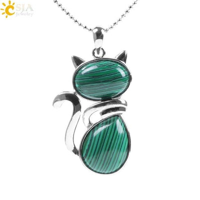Collier Chat - Malachite - collier