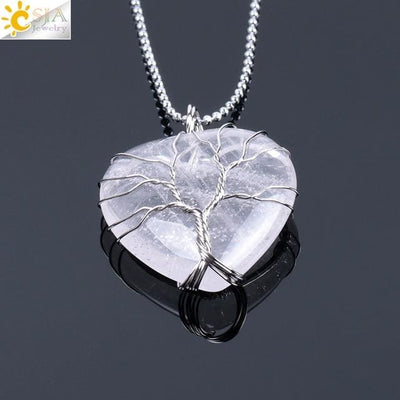 Collier Cur de lArbre de Vie en Pierre Naturelle (8 pierres) - White Crystal Chain - Collier