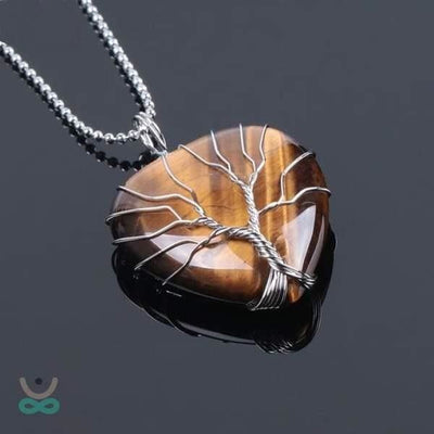 Collier Cur de lArbre de Vie en Pierre Naturelle (8 pierres) - Tiger Eye Chain / Pendentif - Collier