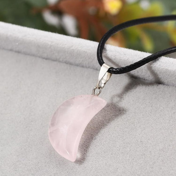Collier Croissant de Lune en Quartz Rose - collier