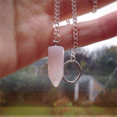 Collier du Pendule en Quartz Rose - collier