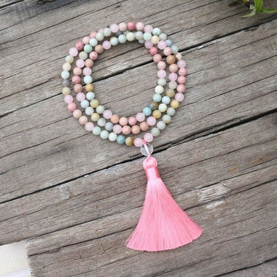 Collier Emotions en amazonite et rhodochrosite - Collier