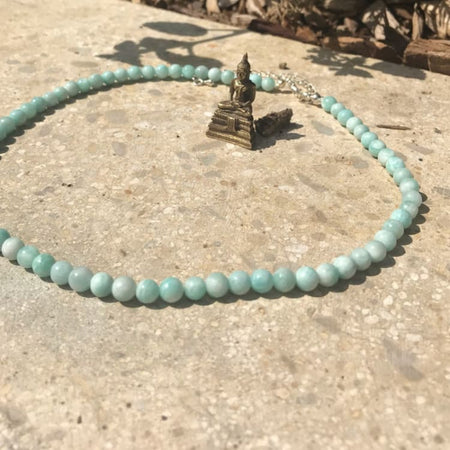 Collier en fines perles dAmazonite - Collier
