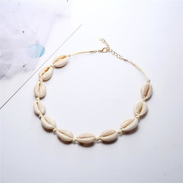 Collier ras du cou en coquillages Cauri - Naturel Blanc