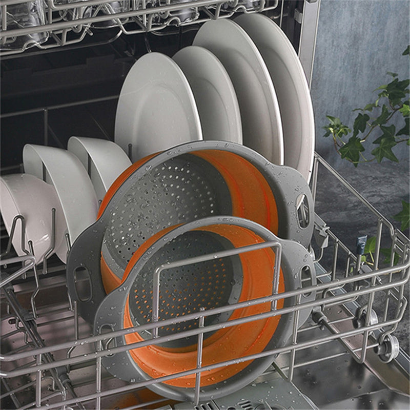2 Pieces  Kitchen Fruit Vegetable Silicone Folding Strainer
