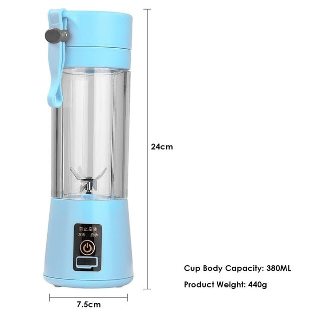 2/4/6 Blades 380ml Portable Electric USB Rechargeable Juice Blender Machine