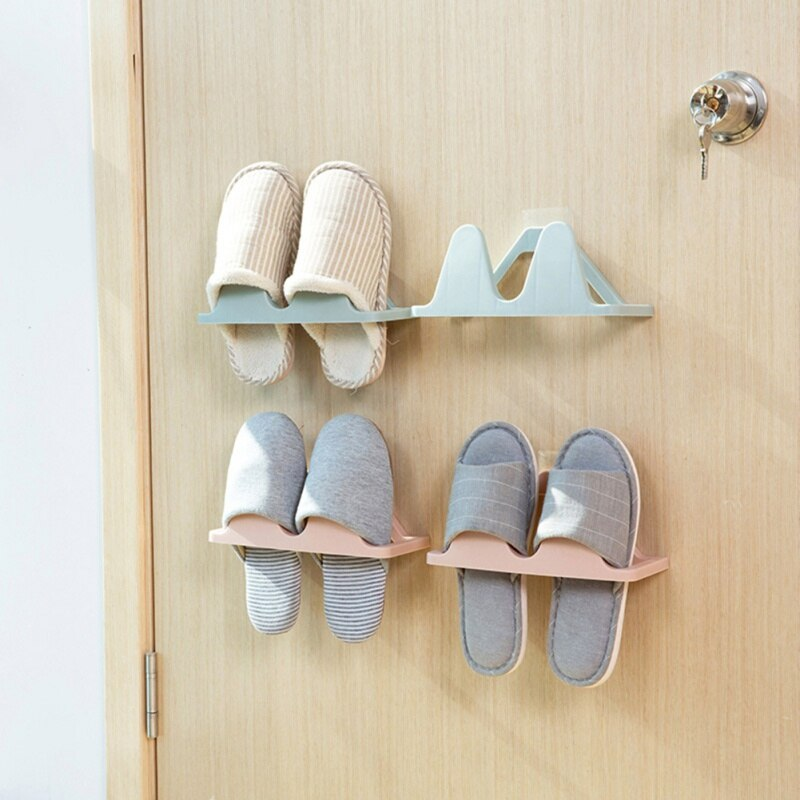 Wall-mount 3D Shoes Storage Rack With Seamless Sticker