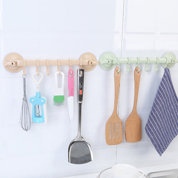 6 Hooks Bathroom kitchen Wall Vacuum Racks