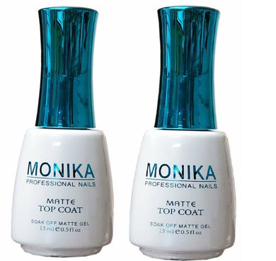 .MONIKA Professional - UV/LED Soak off Gel (No-Wipe) MATTE TOP COAT -  0.5 fl.oz/15mL (Pack of 2)