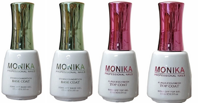 .MONIKA Professional - UV/LED Soak off Gel 2 (No-Wipe) TOP COAT & 2 BASE COAT -  0.5 fl.oz/15mL