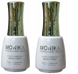 .MONIKA Professional - UV/LED Soak off Gel BASE COAT (Foundation)  -  0.5 fl.oz/15mL (Pack of 2)