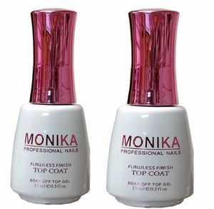 .MONIKA Professional - UV/LED Soak off Gel (No-Wipe) TOP COAT -  0.5 fl.oz/15mL (Pack of 2)
