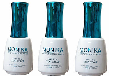 .MONIKA Professional - UV/LED Soak off Gel (No-Wipe) MATTE TOP COAT -  0.5 fl.oz/15mL (Pack of 3)