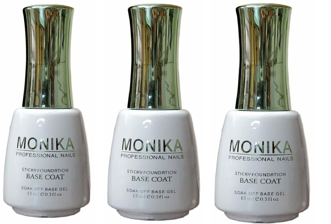 MONIKA Professional - UV/LED Soak off Gel BASE COAT (Foundation)  -  0.5 fl.oz/15mL (Pack of 3)