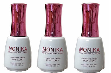 .MONIKA Professional - UV/LED Soak off Gel (No-Wipe) TOP COAT -  0.5 fl.oz/15mL (Pack of 3)
