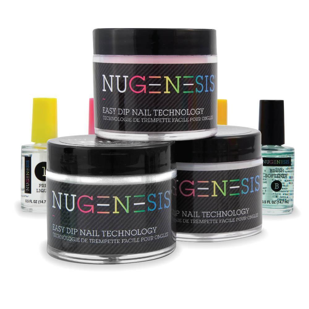 .NUGENESIS - Manicure Pedicure Nail Dipping Color Powder - Starter French Kit