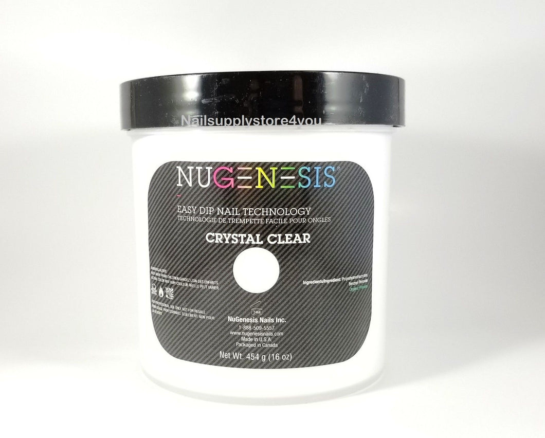 NuGenesis Nail Dipping Powder Refill Size 16oz/454g - CRYSTAL CLEAR