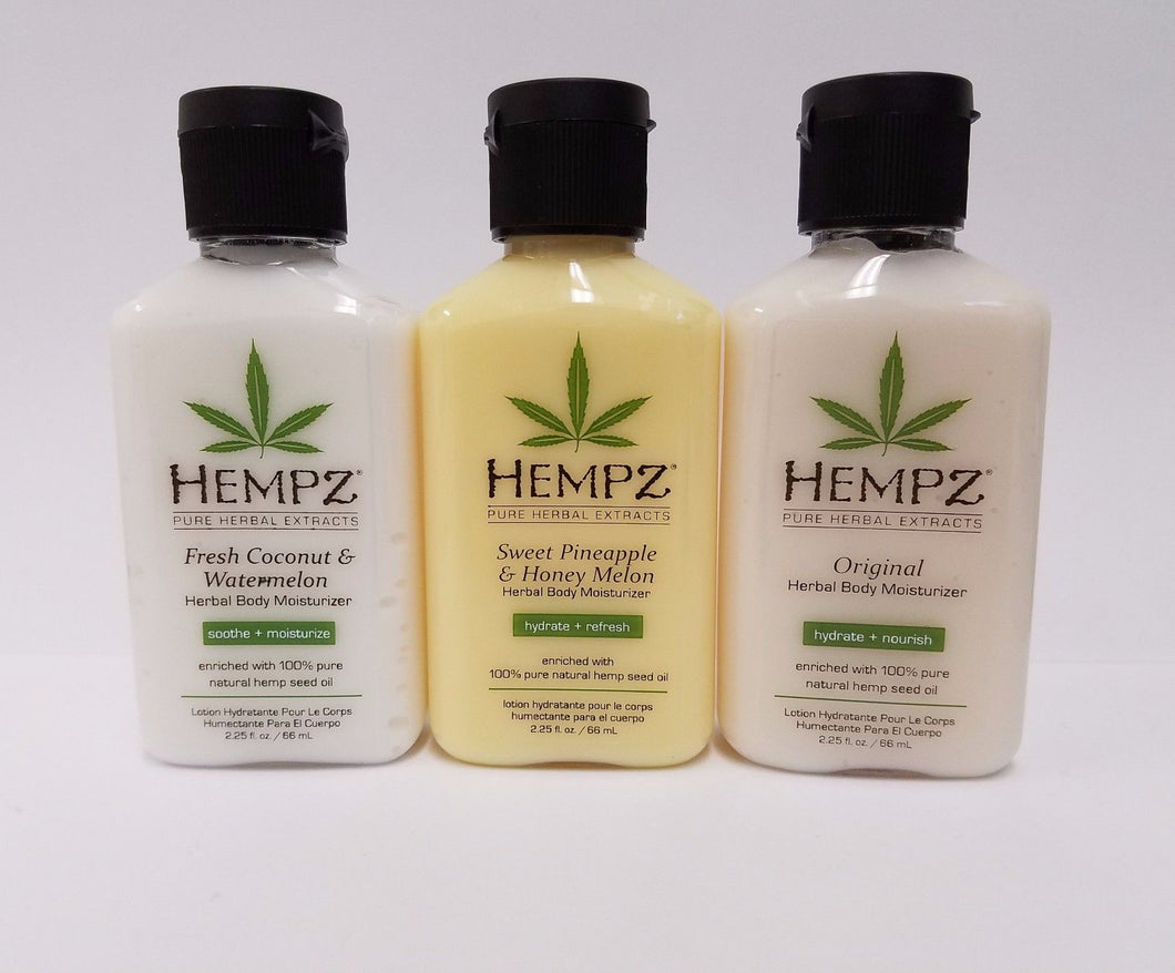 Hempz 2.25oz - 3 Scents (Sweet Pineapple + Original + Fresh Coconut)