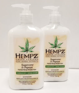 Pack of 2 -17oz Hempz Pure Herbal Fresh Fusions - SUGARCANE & PAPAYA
