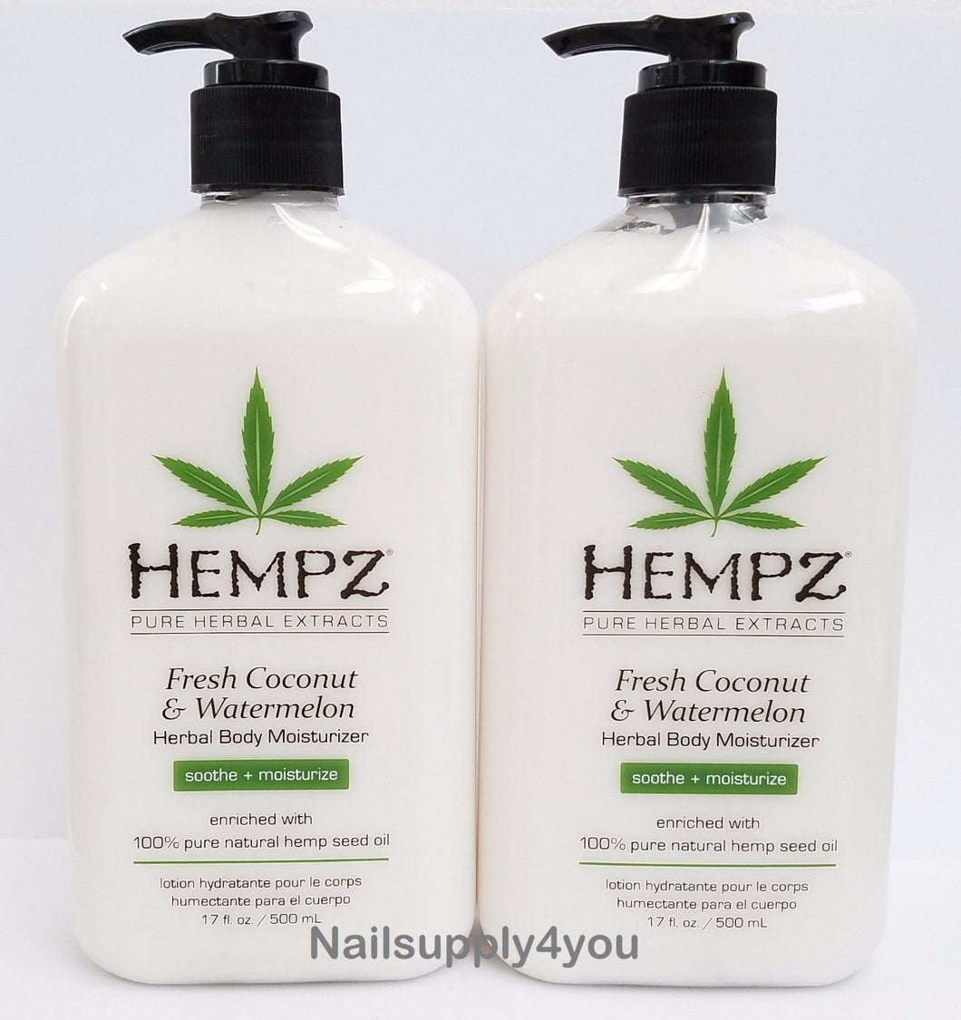Pack of 2 -17oz Hempz Pure Herbal Extract Lotion - FRESH COCONUT&WATERMELON