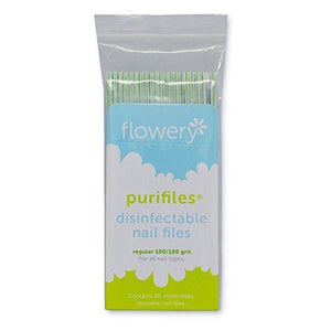 Flowery Purifiles Disinfect Nail Files (Grit 100/180) - 20ct/pack