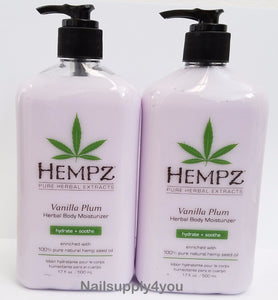 Pack of 2 -17oz Hempz Pure Herbal Extract Lotion - VANILLA PLUM