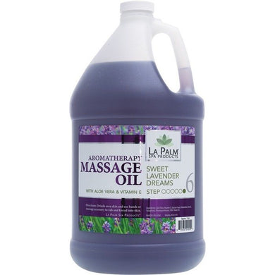 LA PALM Aromatherapy Organic Massage Oil Purple -SWEET LAVENDER DREAMS- 1Gallon