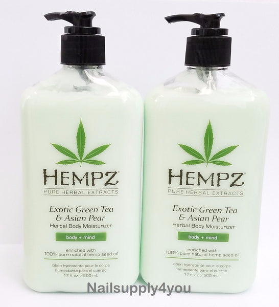 Pack of 2 -Hempz Pure Herbal Extract - EXOTIC GREEN TEA& ASIAN PEAR - 17 fl. oz