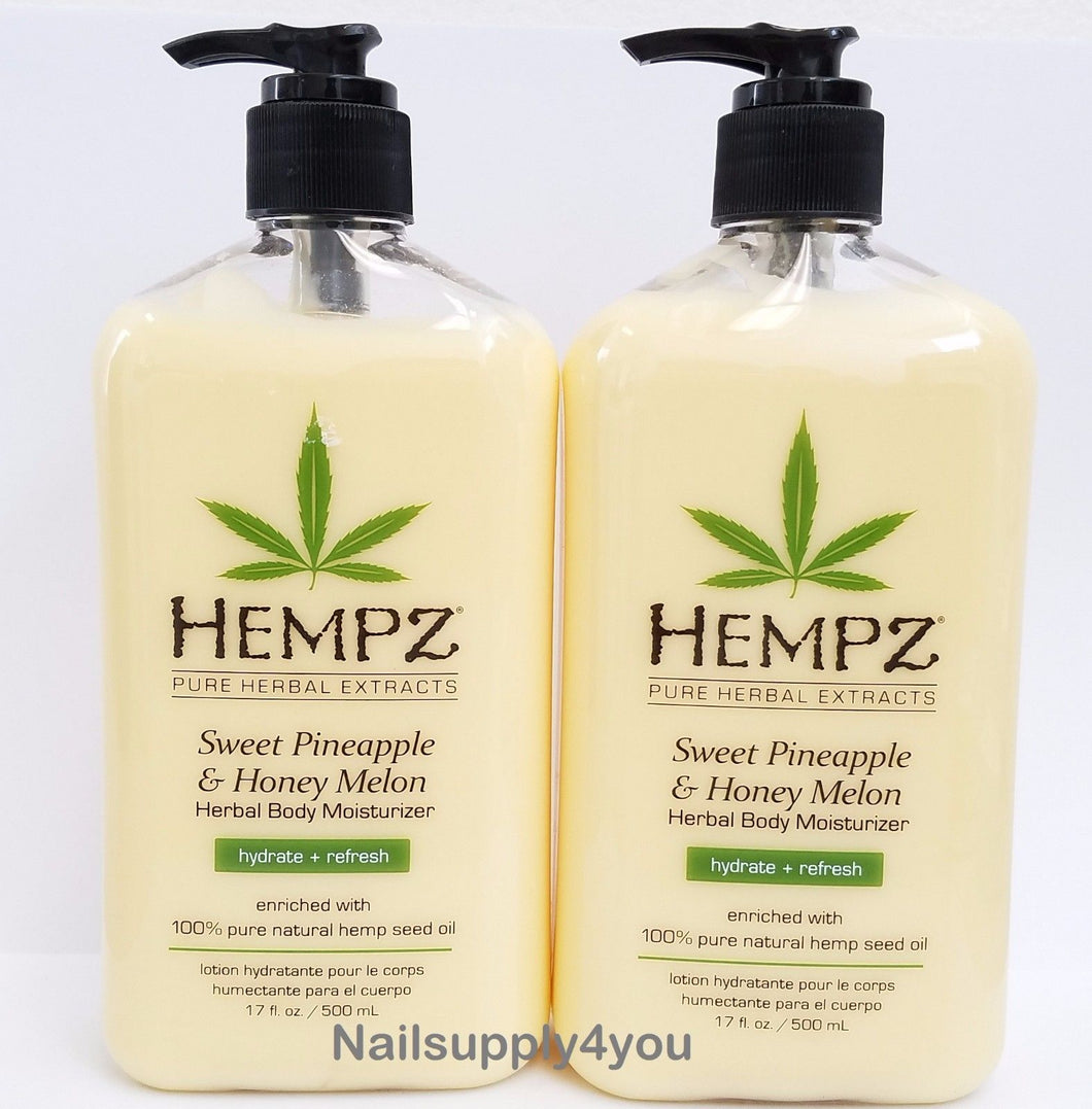 Hempz Lotion Herbal Body moisturizer Sweet Pineapple & Honey Melon 17oz - Pack of 2