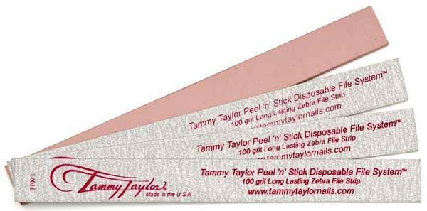 Tammy Taylor Nail File  Peel 'N' Stick Disposable Zebra File-100grit - 50 count
