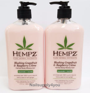 Pack of 2 -Hempz Lotion Herbal moisturizer-Blushing Grapefruit & Raspberry-17 fl. oz