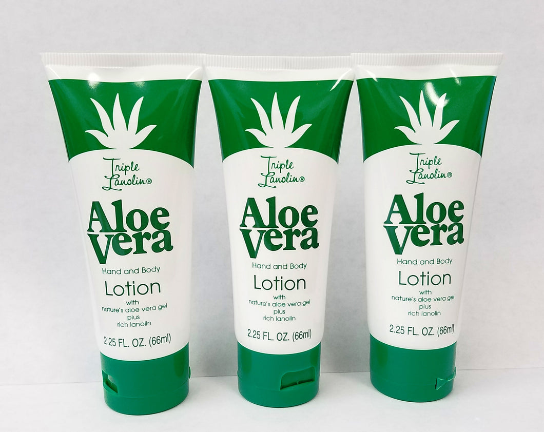 Triple Lanolin 2.25 Fl. Oz. Tubes ALOE Vera Hand & Body Lotion * Pack of 3