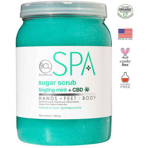 BCL Spa Pedicure Organic Sugar Scrub Half Gallon (64oz) - tingling mint + CBD