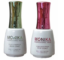 .MONIKA Professional - UV/LED Soak off Gel (No-Wipe) TOP COAT & BASE COAT -  0.5 fl.oz/15mL