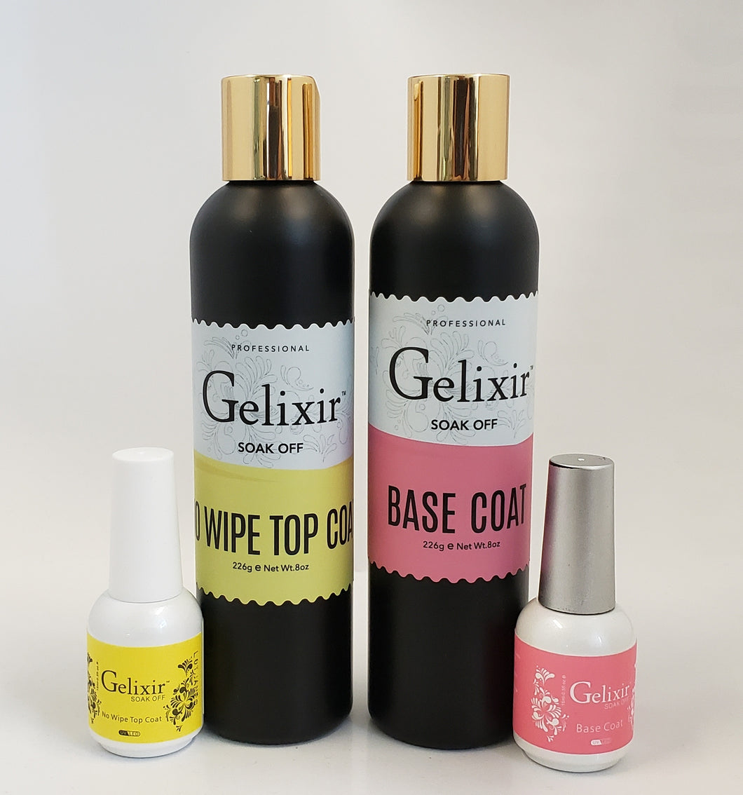 GELIXIR - LED/UV Soak Off Gel - Bundle Base No-wipe Top Coat - Refill Size 8oz + 0.5oz
