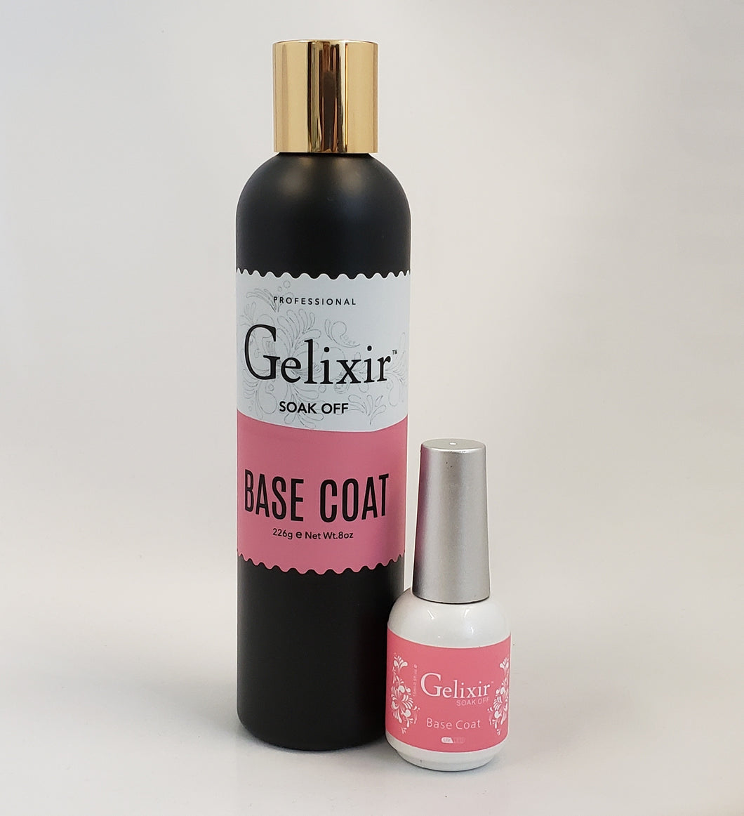 GELIXIR - LED/UV Soak Off Gel - Bundle Base Coat - Refill Size 8oz + 0.5oz