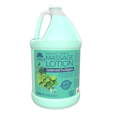 LAPALM Product - 2 in 1 Healing Therapy Massage Lotion - Spearmint Eucalyptus 1 Gallon