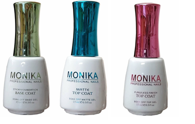 .MONIKA Professional - UV/LED Soak off Gel (No-Wipe) TOP COAT/ MATTE TOP COAT & BASE COAT -  0.5 fl.oz/15mL