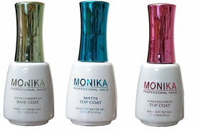 MONIKA Professional - UV/LED Soak off Gel (No-Wipe) TOP COAT/ MATTE TOP COAT & BASE COAT -  0.5 fl.oz/15mL