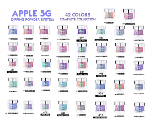 42 Colors of Apple 5G  Holographic Dipping Powder/Chrome/Fairy Dust Glitter - 2oz (FREE SHIPPING)