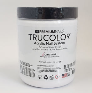 PREMIUM NAILS Trucolor Manicure Nail Acrylic Opaque Cover Powder iULTRA PINK - Choose Your Size